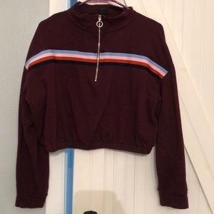 Wild fable maroon/deep purple crop sweatshirt ¼zip